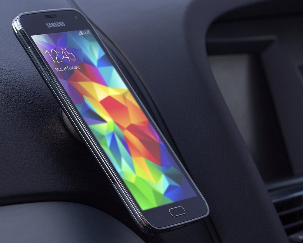 Suport auto telefon magnetic universal, prindere de bord, Kit HOLMAGSL, Argintiu 7
