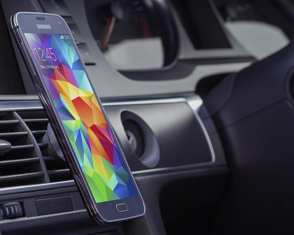 Suport auto telefon magnetic universal, prindere de orificiul de aerisire, Kit HOLVENTMSL, Argintiu 2