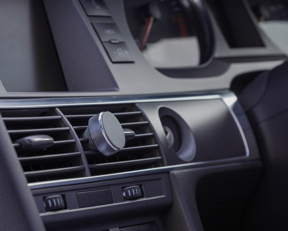 Suport auto telefon magnetic universal, prindere de orificiul de aerisire, Kit HOLVENTMSL, Argintiu