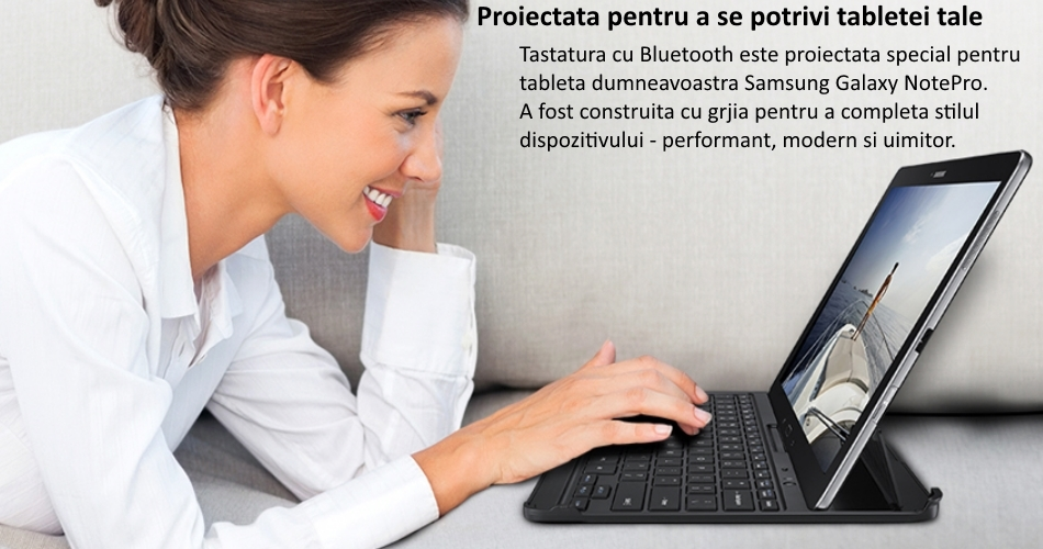 Husa Book cu tastatura bluetooth pentru Samsung Galaxy Note Pro Tab Pro 12.2 inch, EE-CP905UBEGWW Black 1