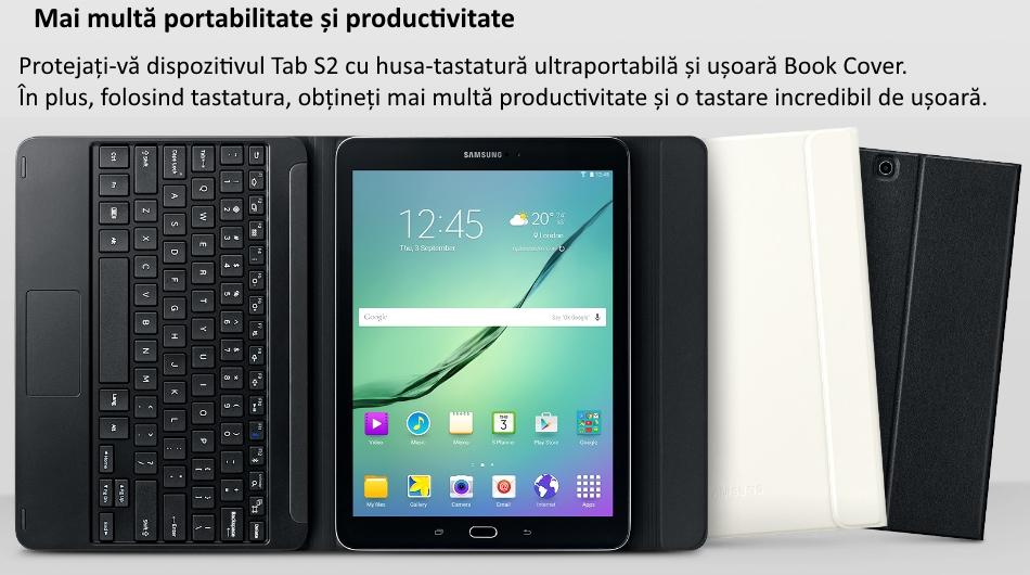 Husa Book Cover cu tastatura bluetooth pentru Samsung Galaxy Tab S2 9.7 inch, EJ-FT810UBEGWW Black