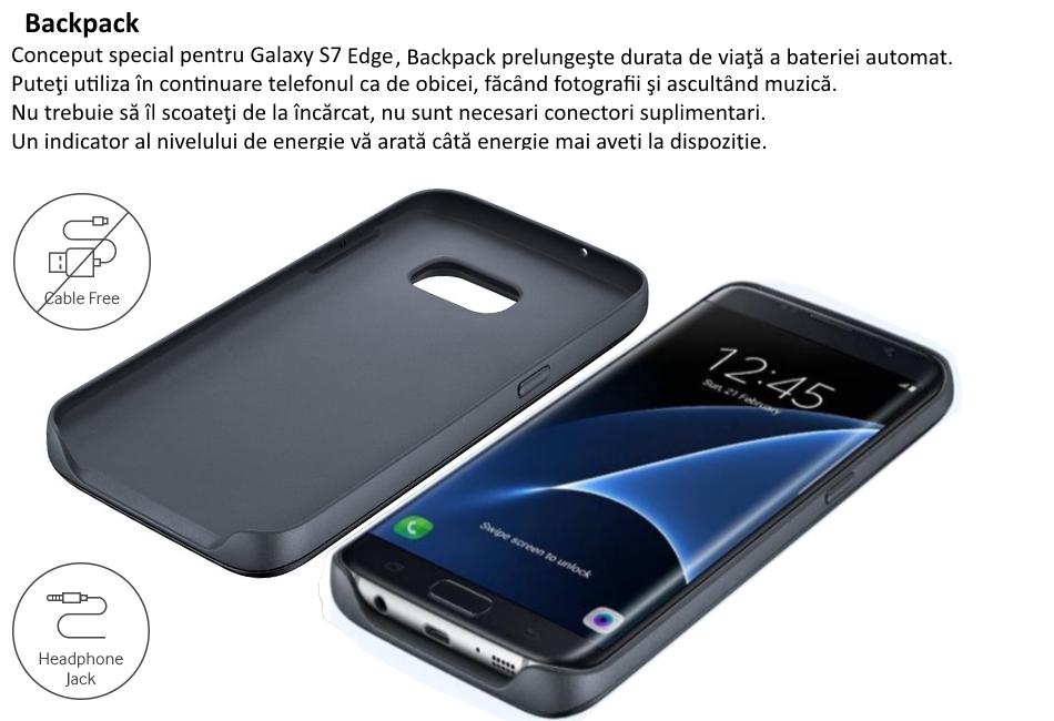 Capac protectie spate cu acumulator si incarcare Wireless Pack pentru Samsung Galaxy S7 Edge (G935), EP-TG935BBEGWW Black