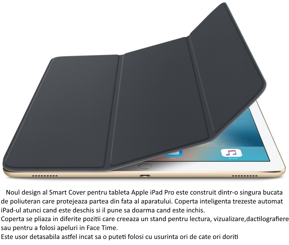 Husa Stand Apple Smart Cover pentru iPad Pro, MK0L2ZM A Charcoal Gray