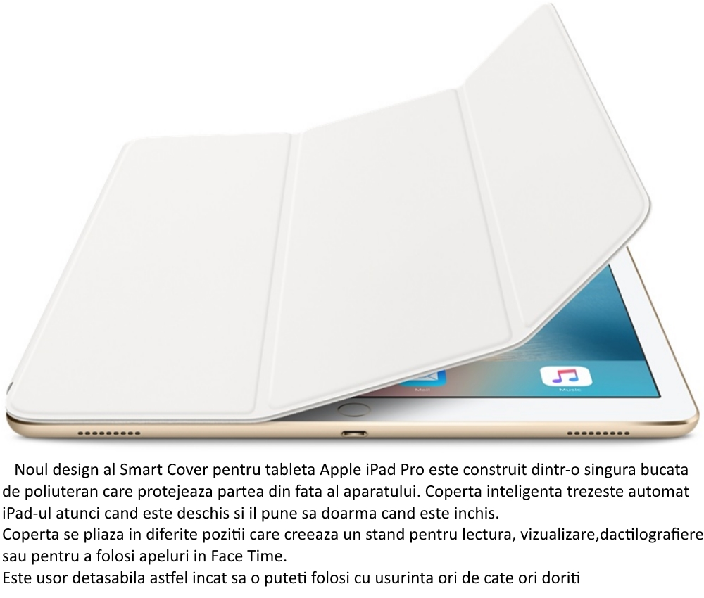 Husa Stand Apple Smart Cover pentru iPad Pro, MLJK2ZM A White 5
