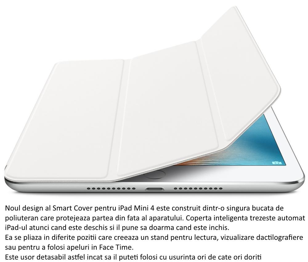 Husa Stand Apple Smart Cover pentru iPad mini 4, MKLW2ZM A White