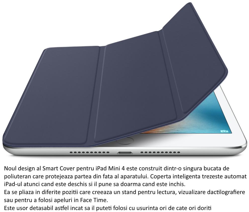 Husa Stand Apple Smart Cover pentru iPad mini 4, MKLX2ZM A Midnight Blue