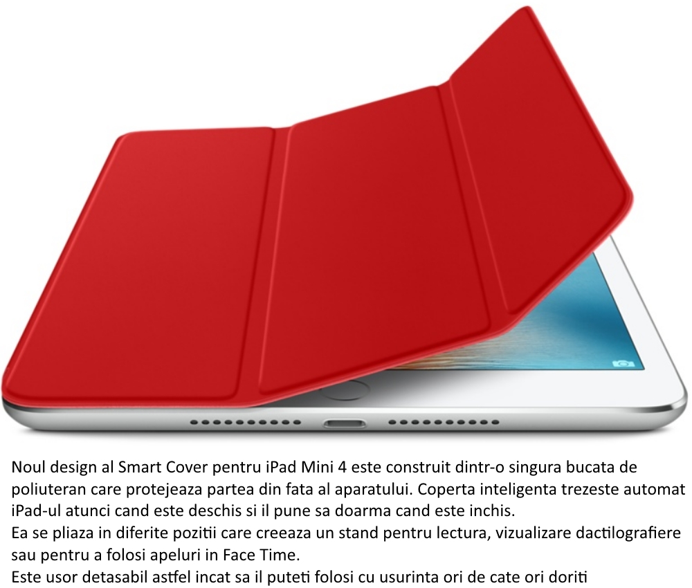 Husa Stand Apple Smart Cover pentru iPad mini 4, MKLY2ZM A (PRODUCT)Red