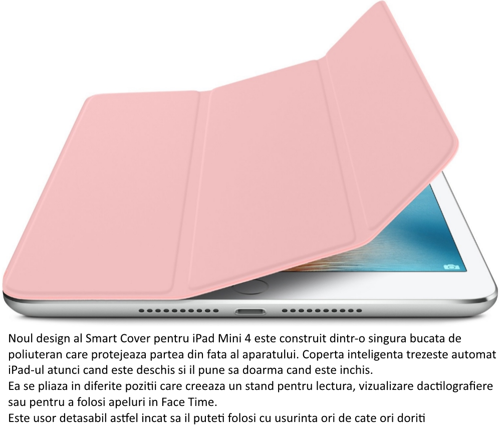 Husa Stand Apple Smart Cover pentru iPad mini 4, MKM32ZM A Pink