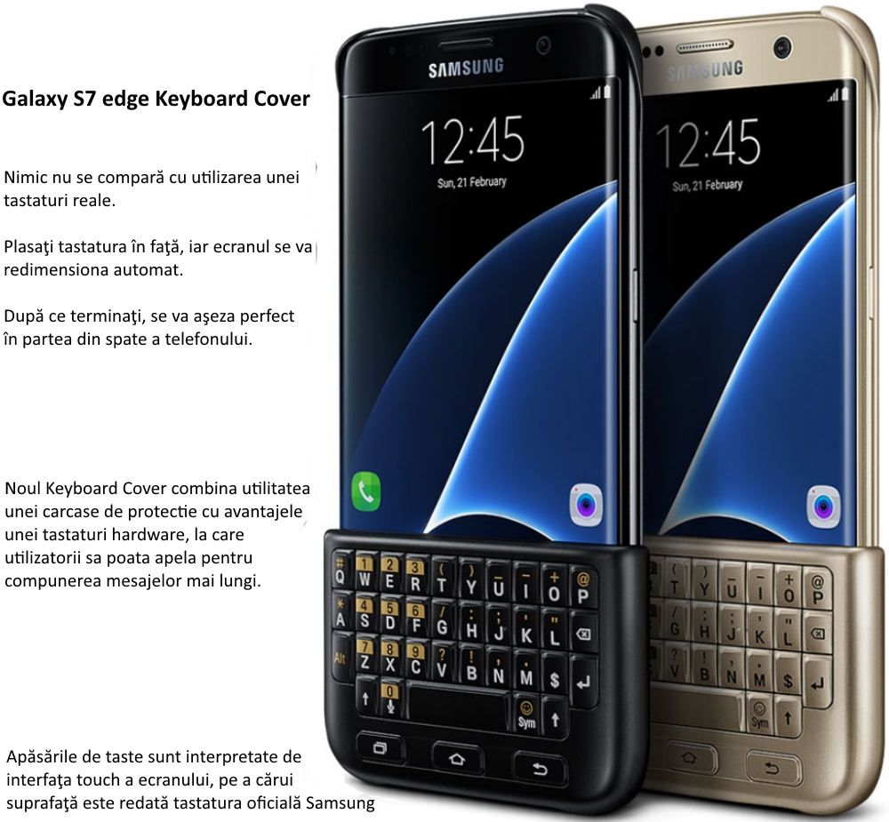 Husa protectie spate cu tastatura QWERTY pentru Samsung Galaxy S7 Edge (G935)