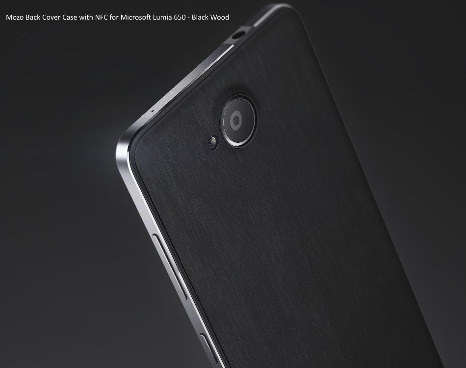 Capac protectie spate Mozo Black Wood pentru Microsoft Lumia 650 1