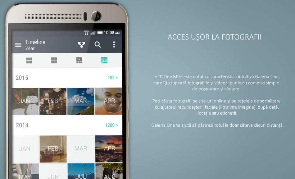 Telefon mobil HTC One M9 Plus, 32GB LTE, Silver Gold 4
