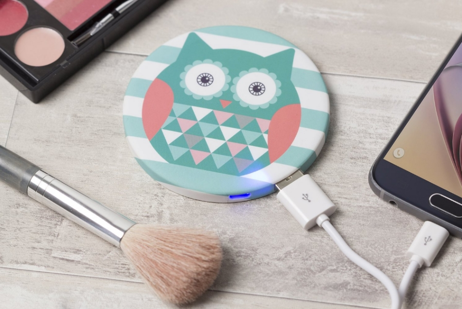 Acumulator universal extern Gifting by Trendz Mirror Green Owl, 2000 mAh, Turquoise 2 3