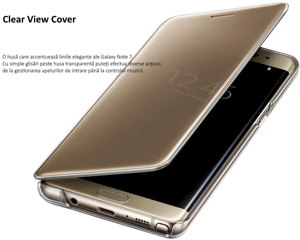 Husa Clear View Cover pentru Samsung Galaxy Note 7 (N930), EF-ZN930CF Gold