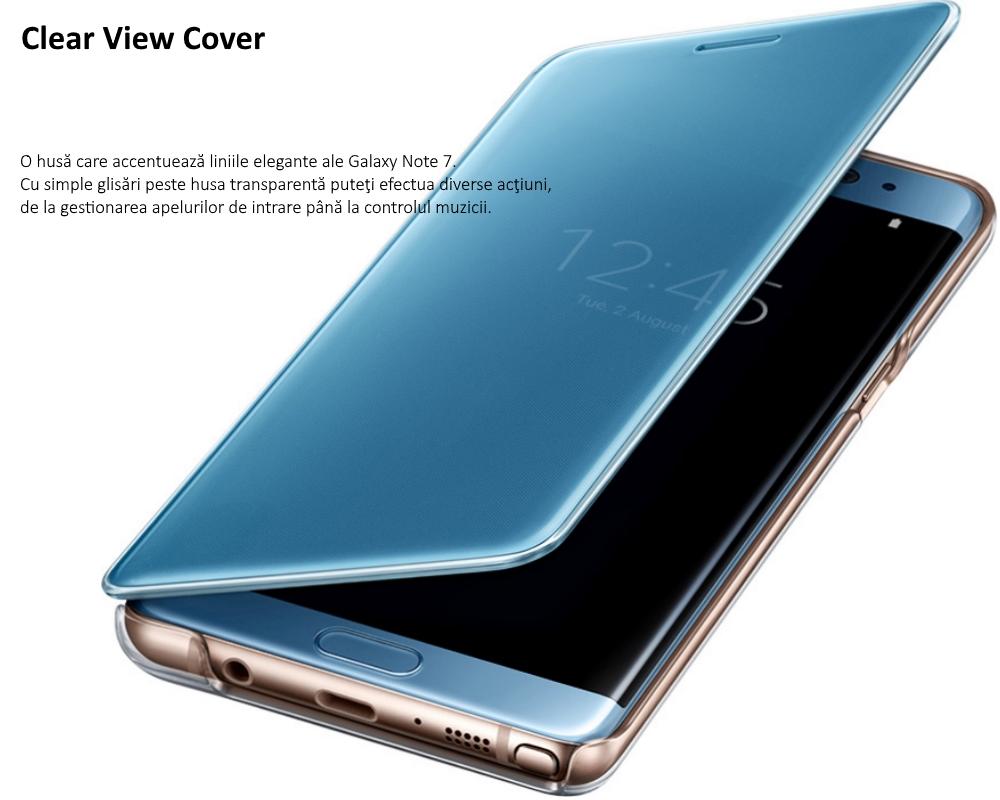 Husa Clear View Cover pentru Samsung Galaxy S7 Edge (G935), EF-ZN930CLEGWW Blue
